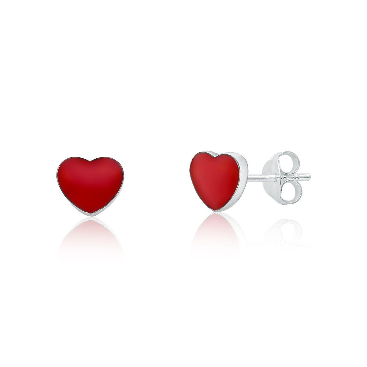 Brinco Coração Vermelho 7 MM