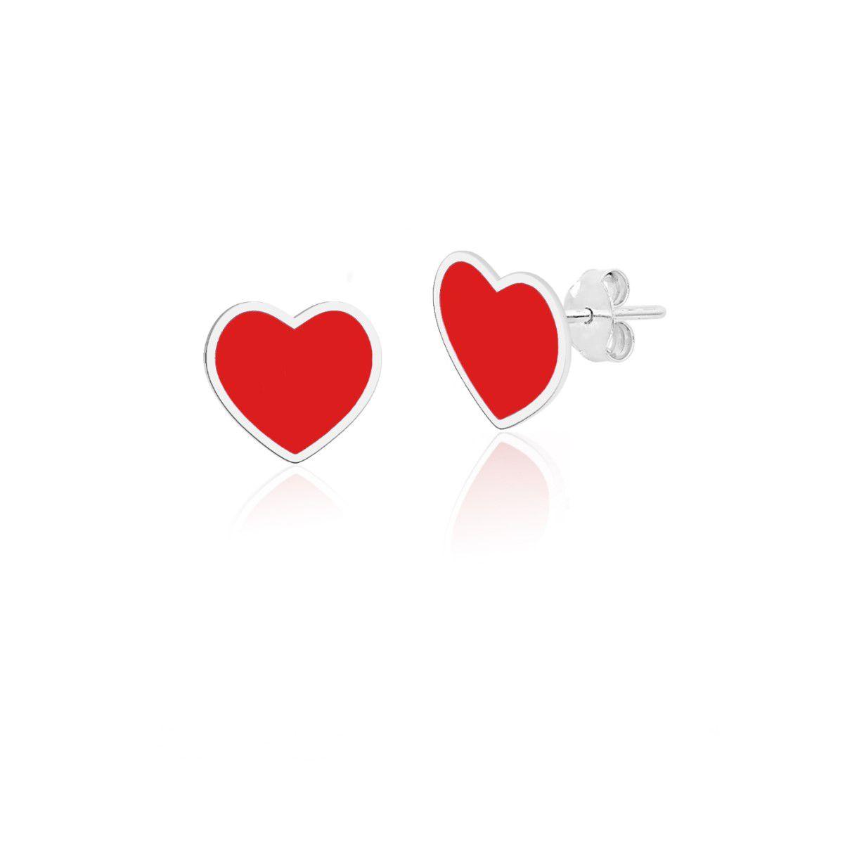 Brinco Coração Vermelho Esmaltado 6 MM