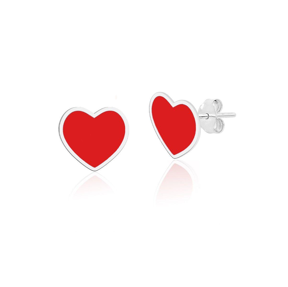 Brinco Coração Vermelho Esmaltado 7 MM
