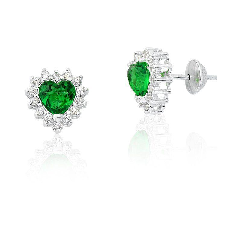 Brinco Coração Zircônia Verde