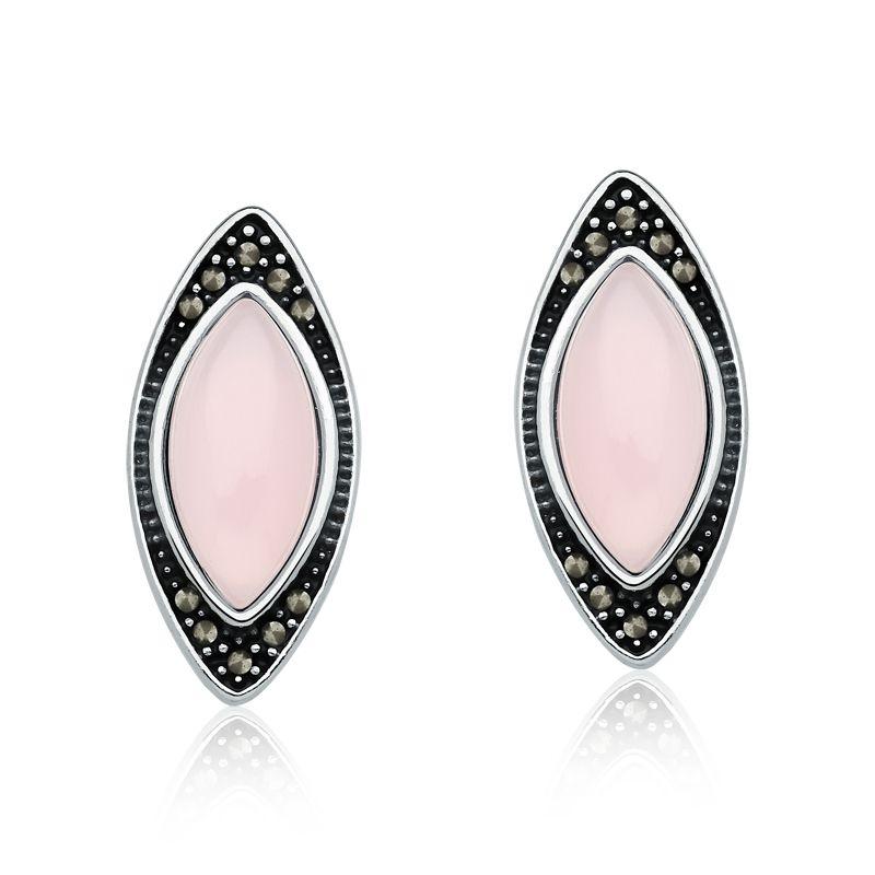 Brinco Cristal Rosa e Marcassitas