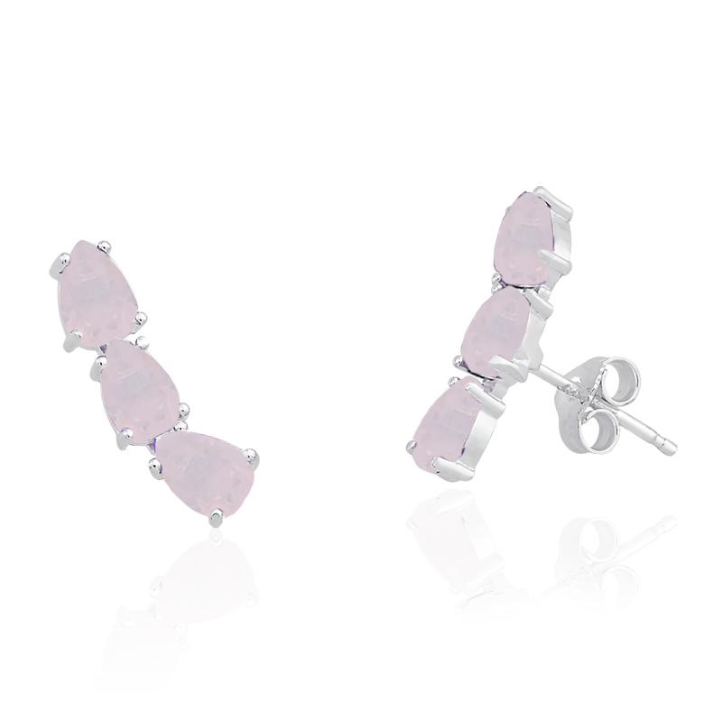 Brinco Ear Cuff Gotas Rosa Fosco