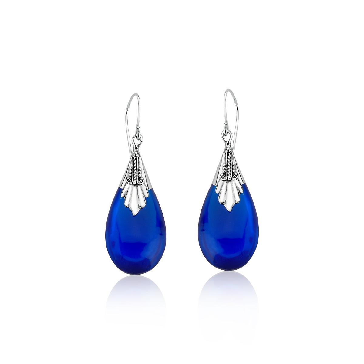 Brinco Gota Azul Royal