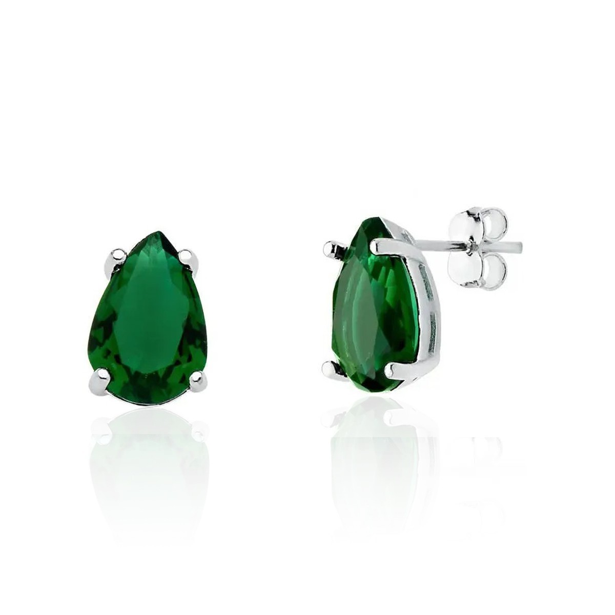 Brinco Gota Cristal Verde Escuro 12 MM