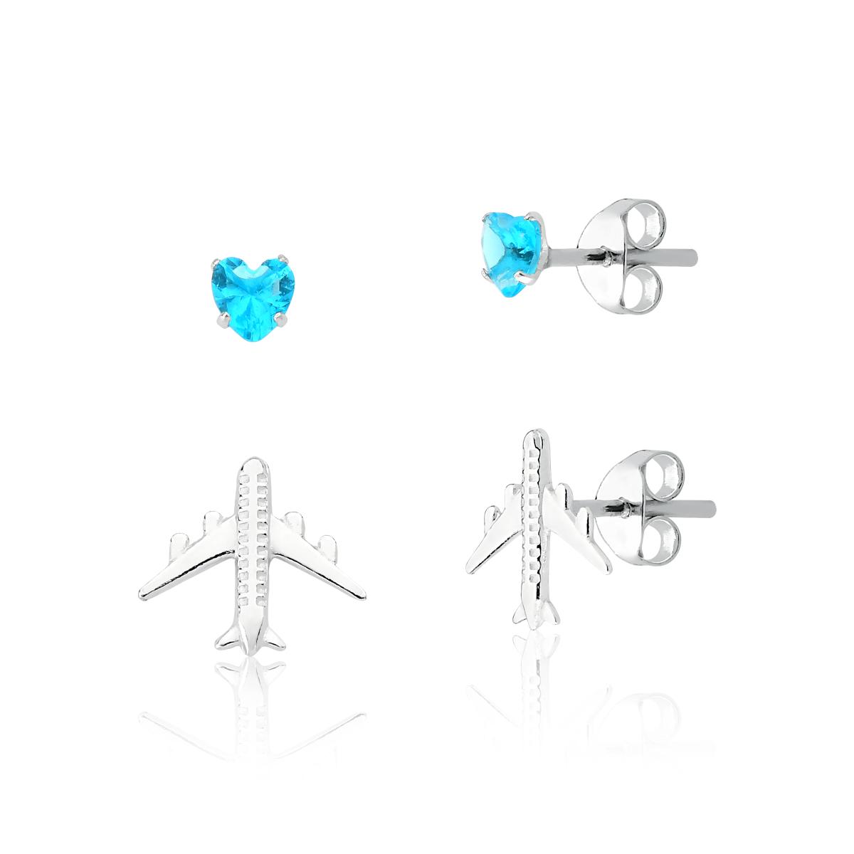 Brinco Kit Coração Azul e Avião