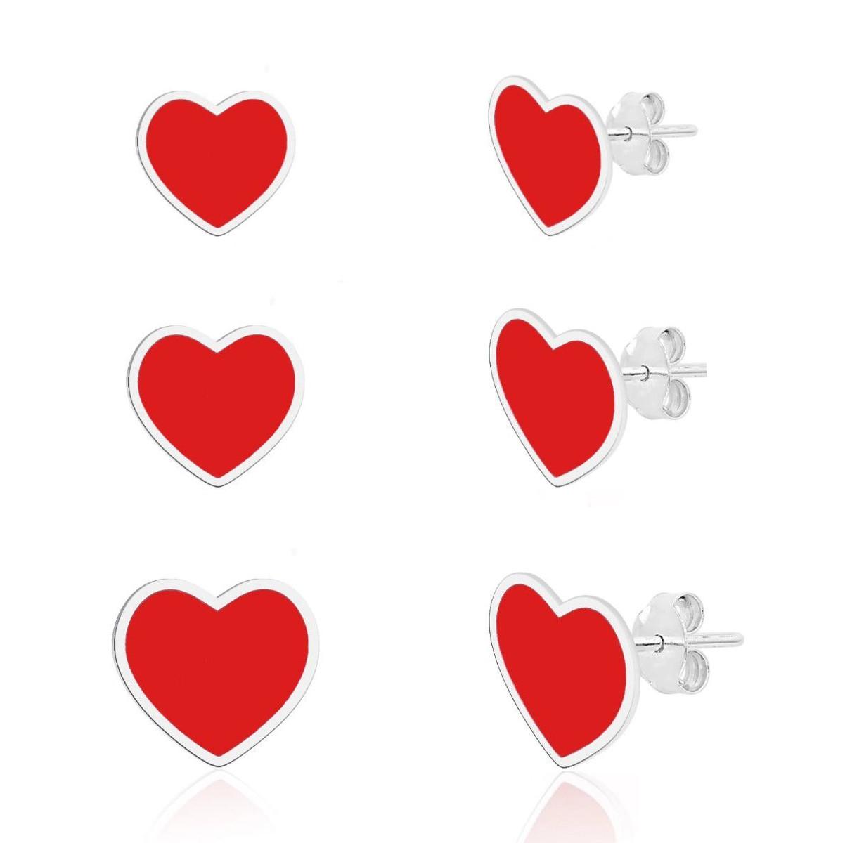 Brinco Kit Corações Vermelhos