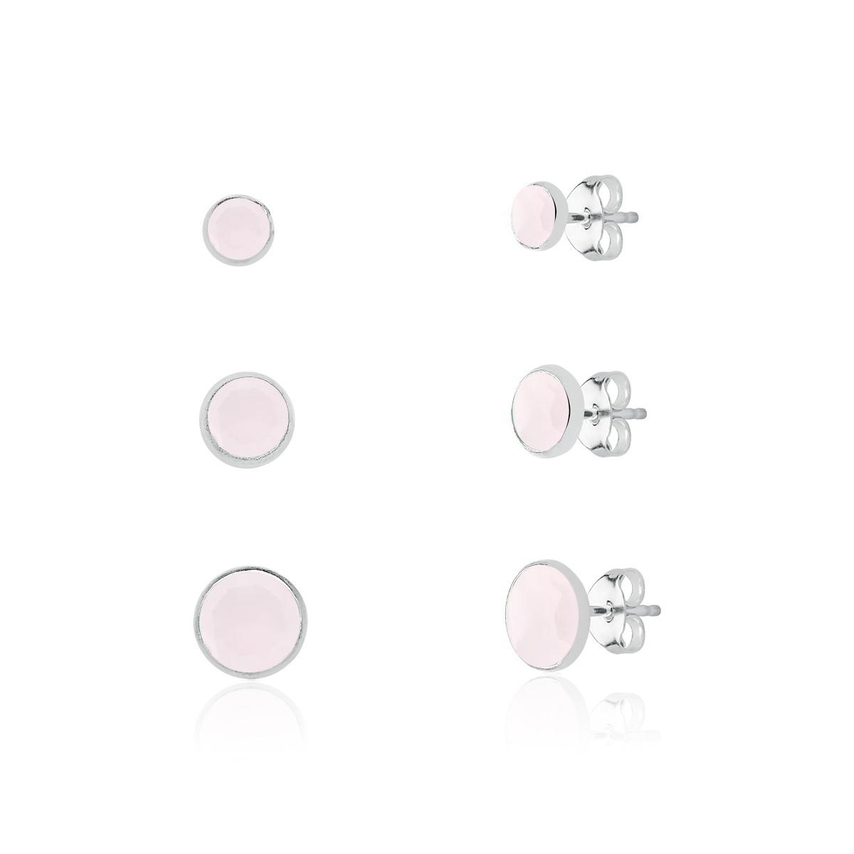 Brinco Kit Cristal Rosa Fosco