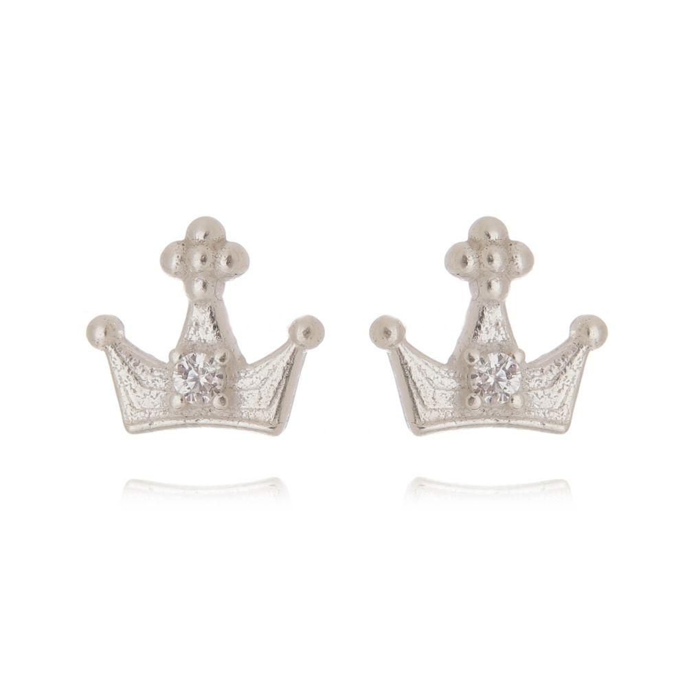 Brinco Mini Coroa Zircônia