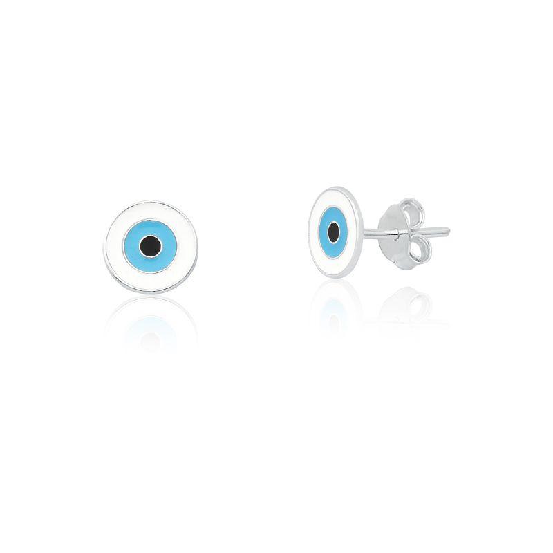 Brinco Olho Grego Branco Redondo