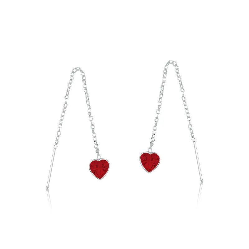Brinco Passante Coração Brilhante Vermelho 30 MM