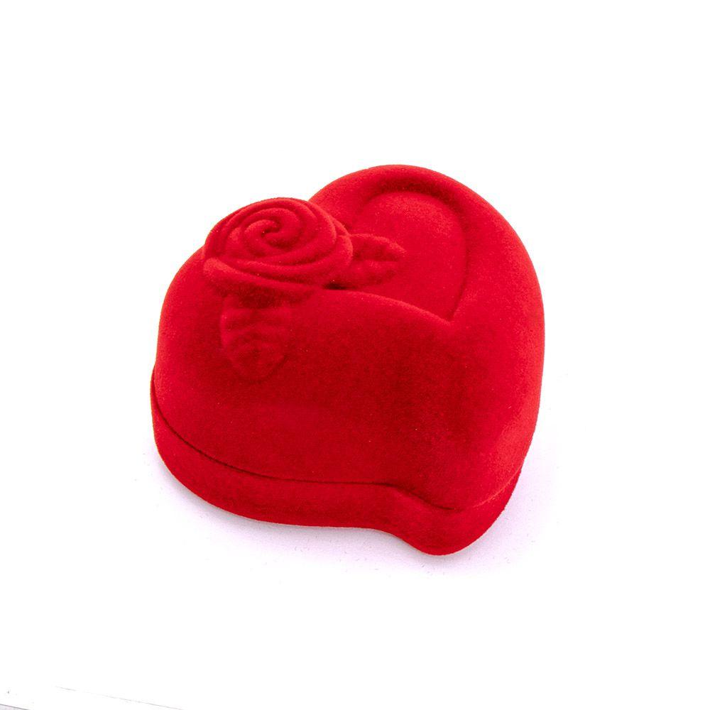 Caixa de Presente Para Anel Coração Flor
