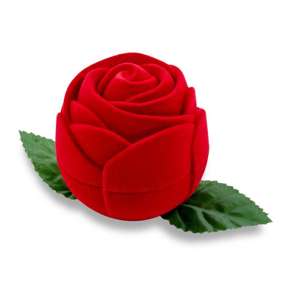 Caixa de Presente Flor Vermelha Para Anel