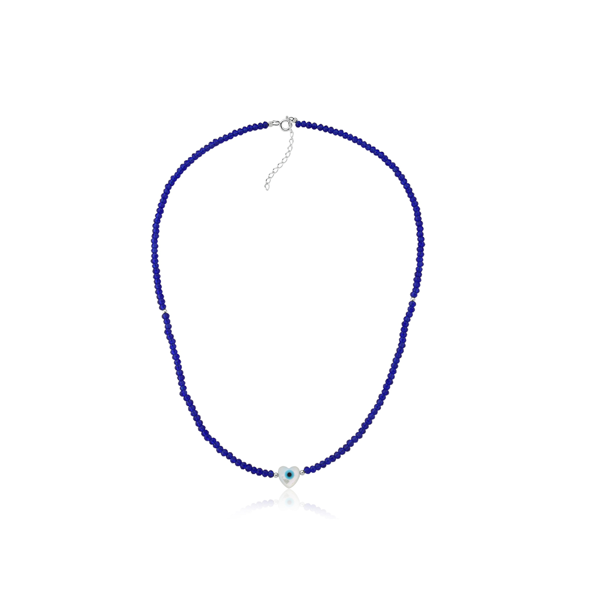 Colar Choker Bolinhas Azuis e Coração Olho Grego 36 CM