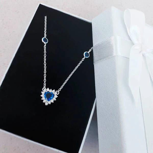 Colar Choker Coração Brilhante Azul