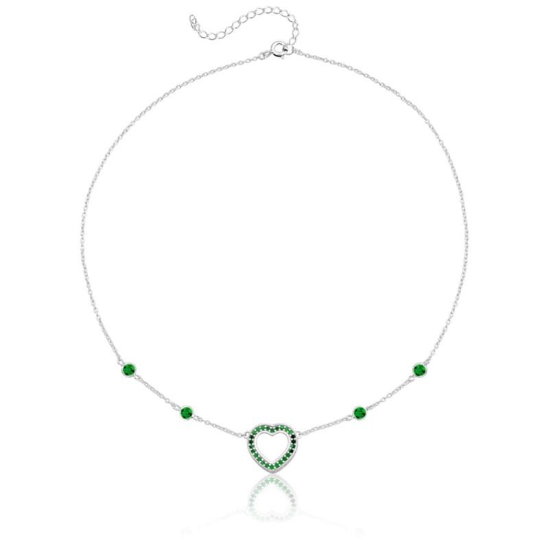 Colar Choker Coração e Pontos de Luz Verde