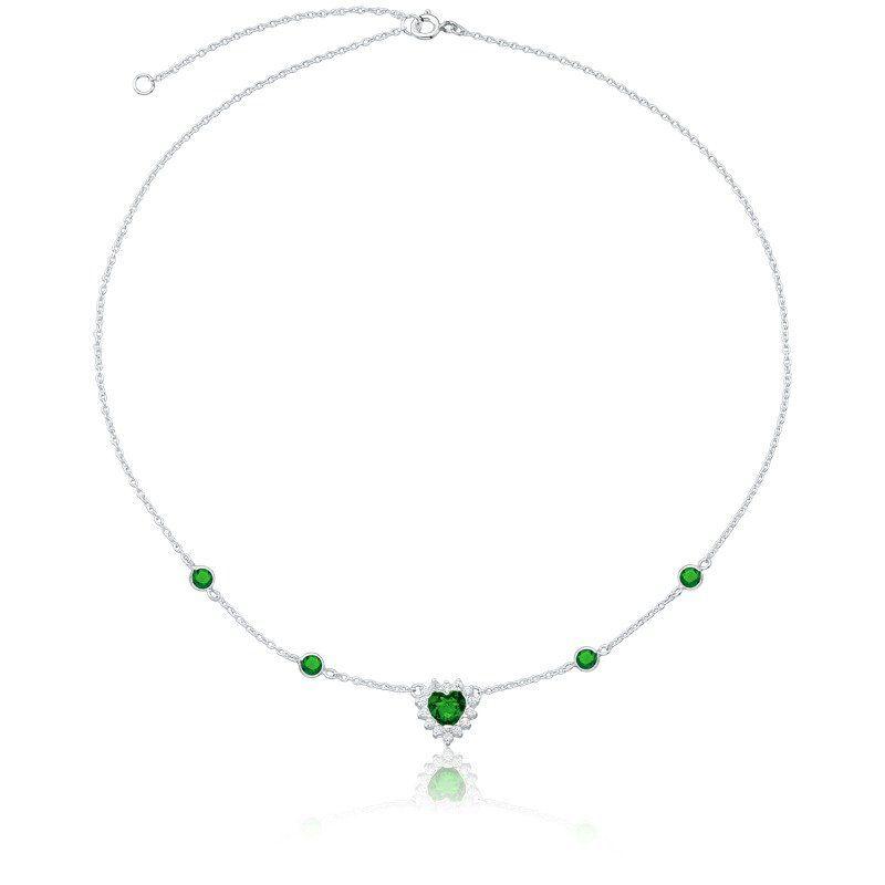 Colar Choker Coração Brilhante Verde Escuro