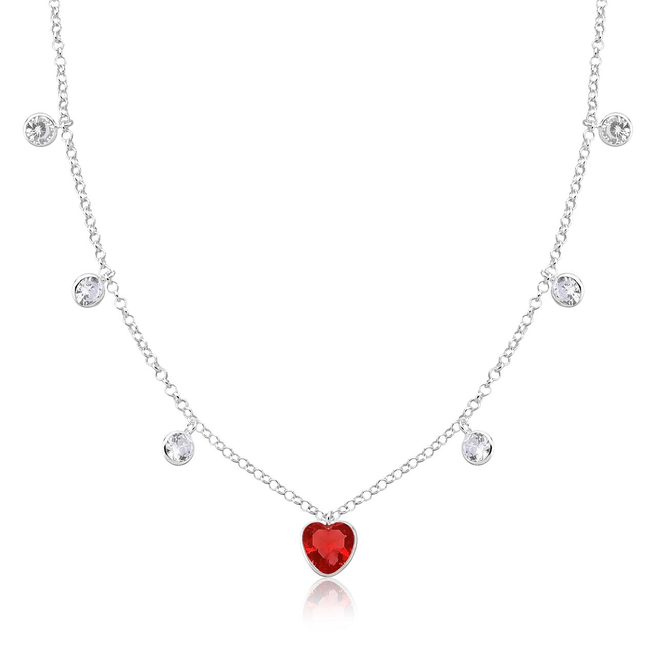Colar Choker Coração Vermelho e Pontos de Luz