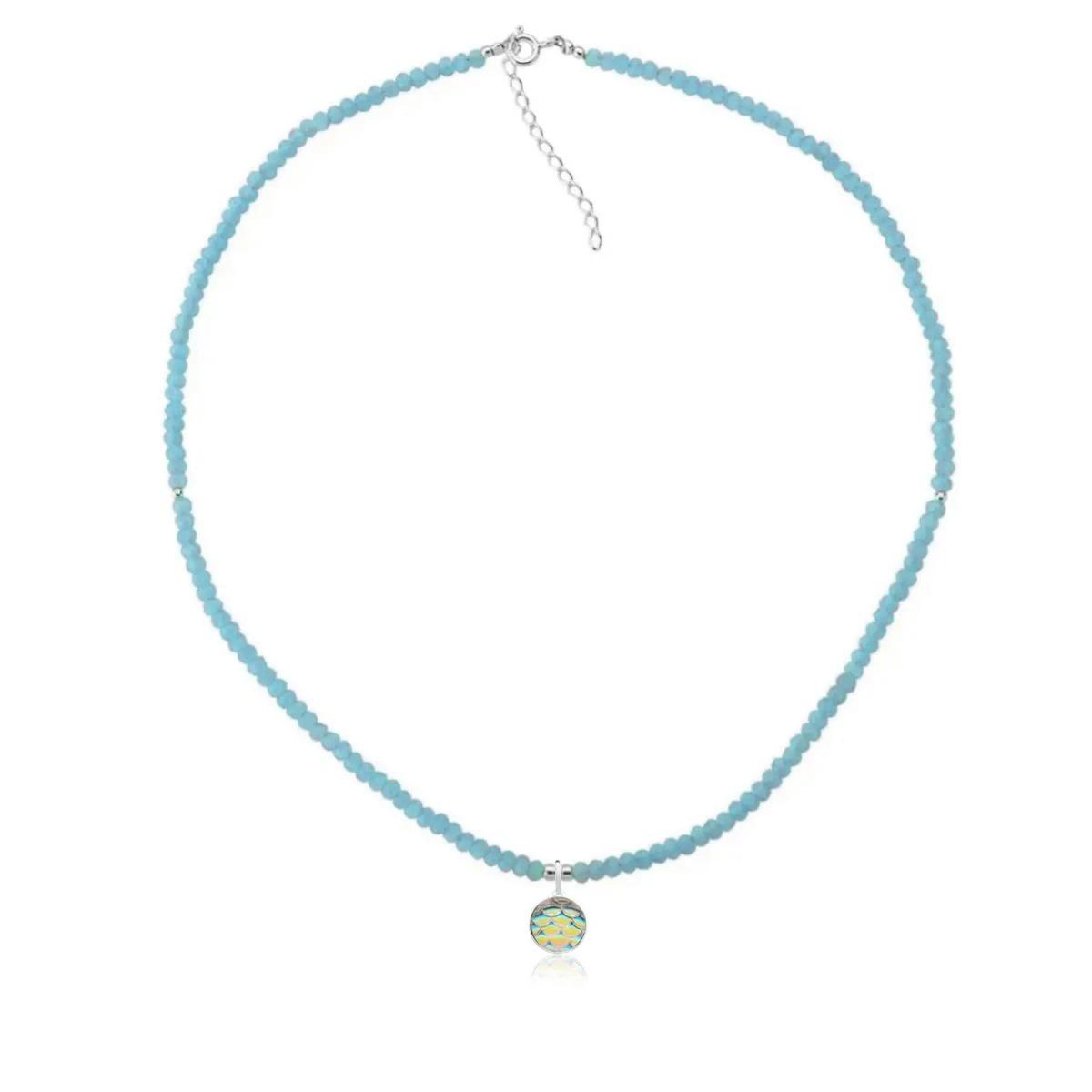 Colar Choker Escama de Sereia Bolinhas Azuis 40 CM