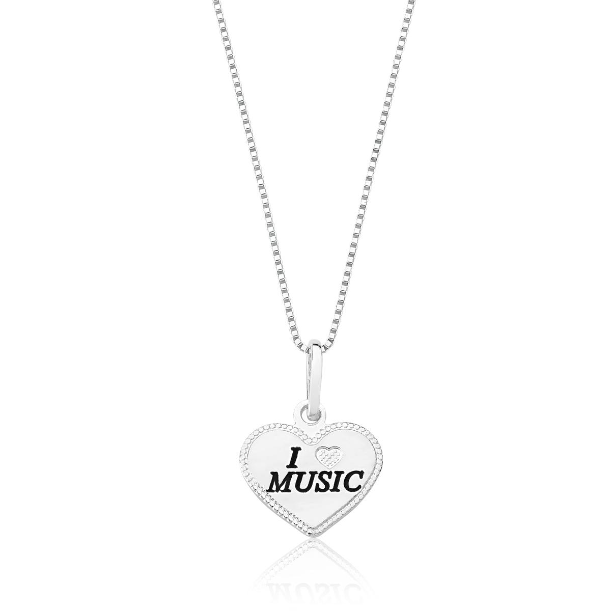 Colar Coração I Love Music