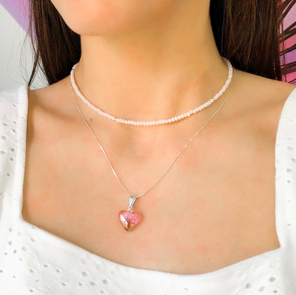 Colar Coração Orgonite Árvore da Vida Rosa 18 MM - Florescer
