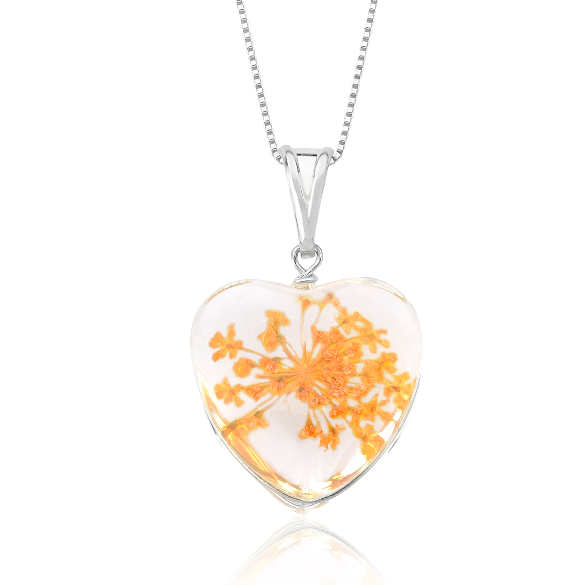 Colar Coração Orgonite Flores Amarelas 23 MM - Florescer