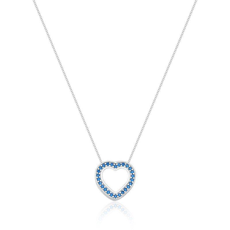 Colar Coração Vazado Zircônias Azul Claro
