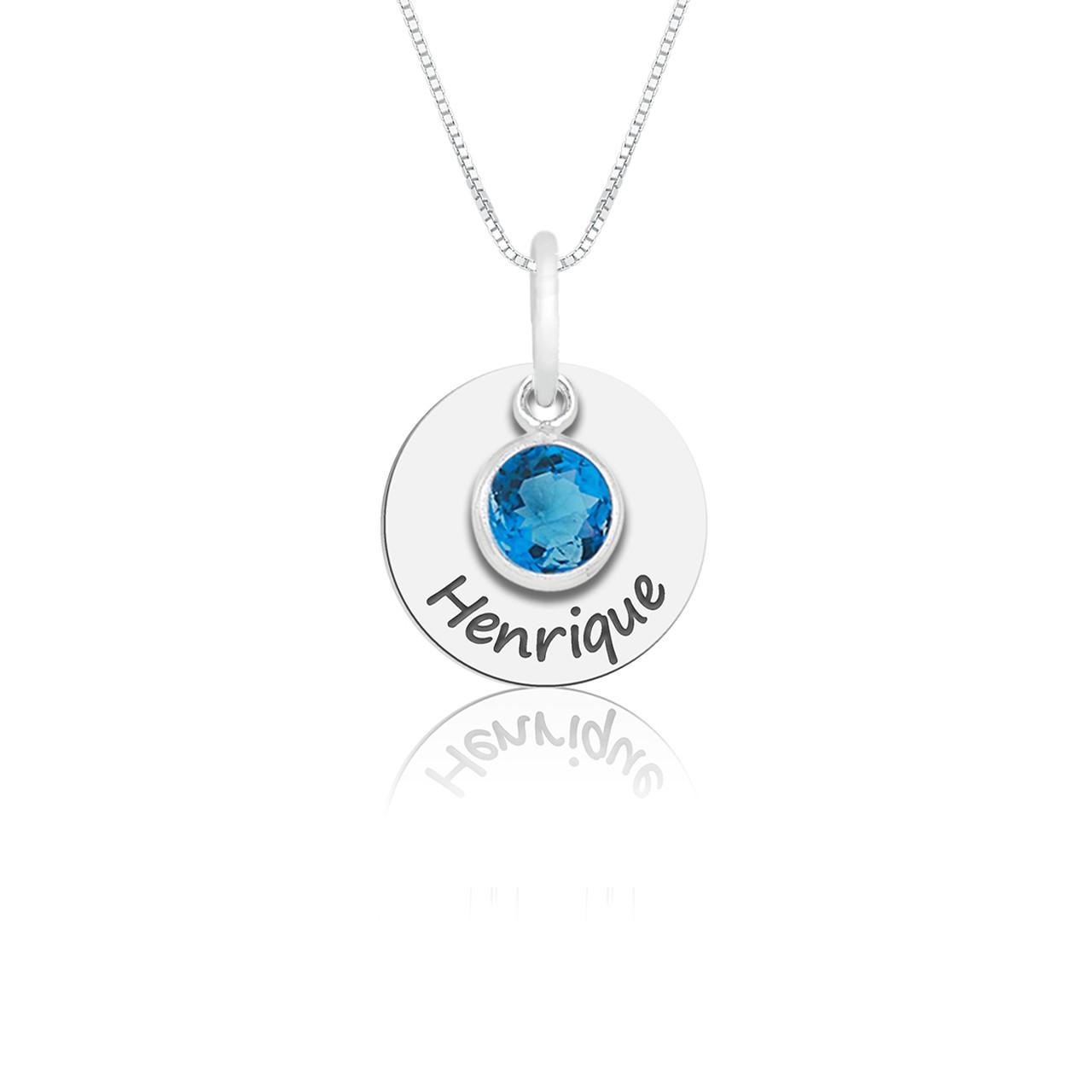 Colar Cristal Azul Personalizado (Ler Descrição)