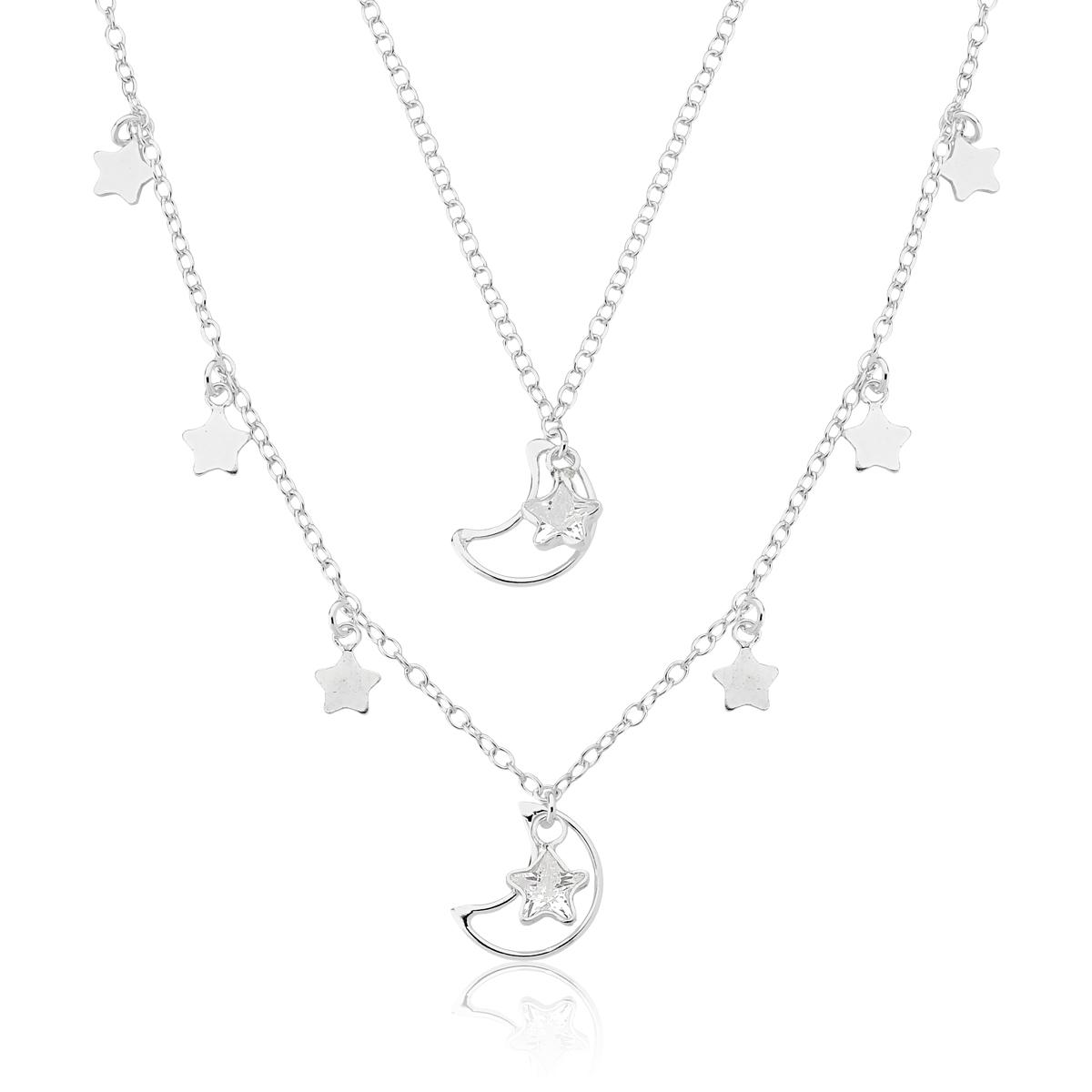 Colar Duplo com Estrelas e Luas