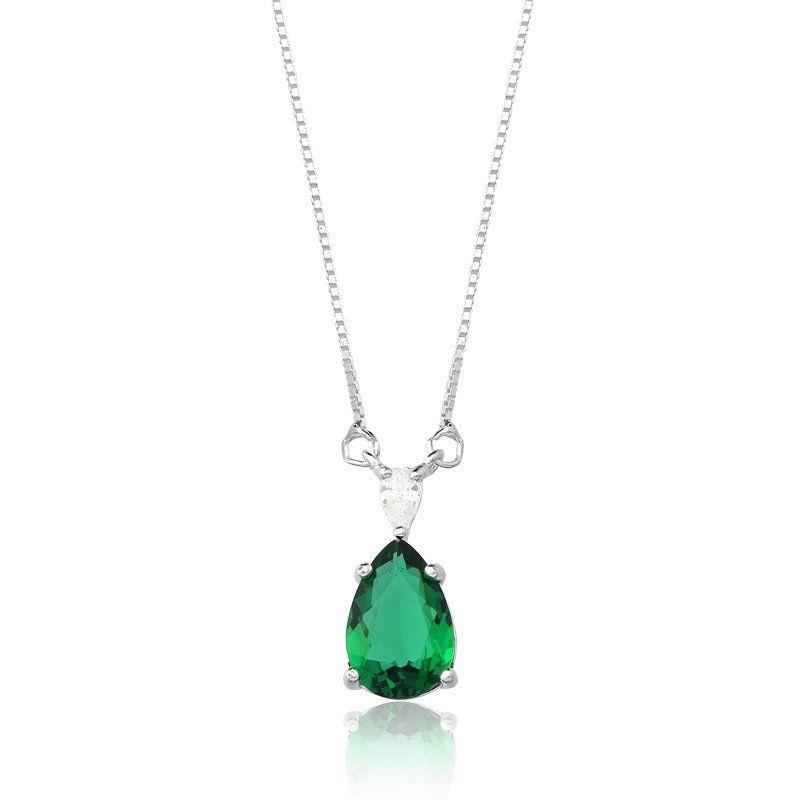 Colar Gota Cristalina Verde Escuro