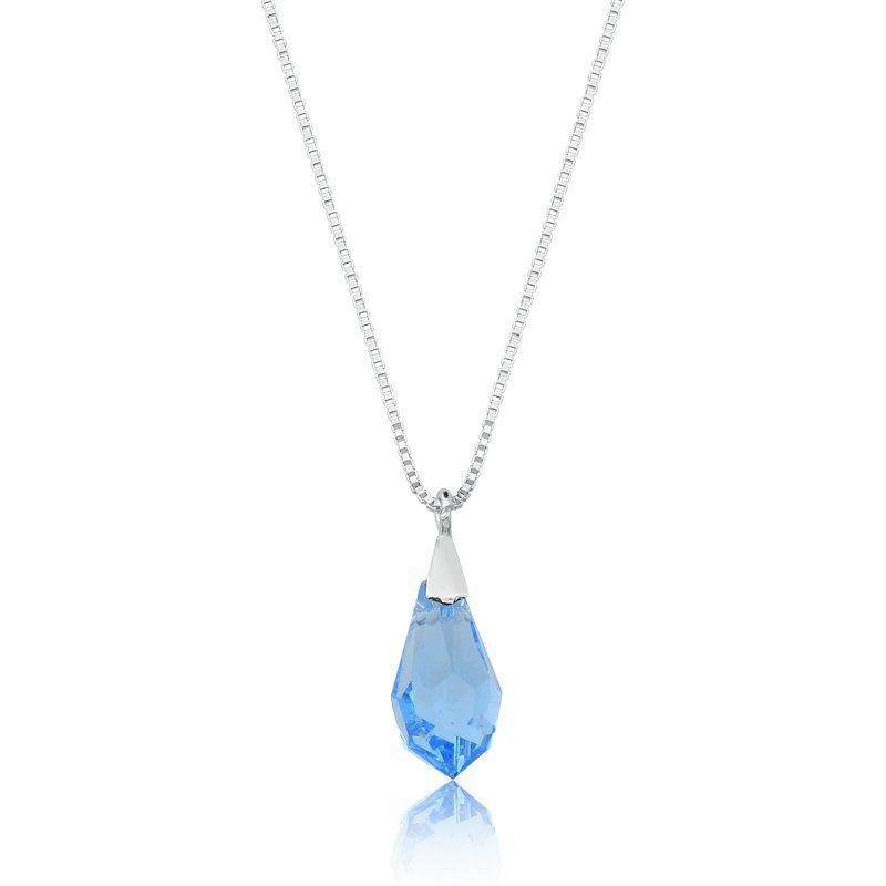Colar Gota De Cristal Azul