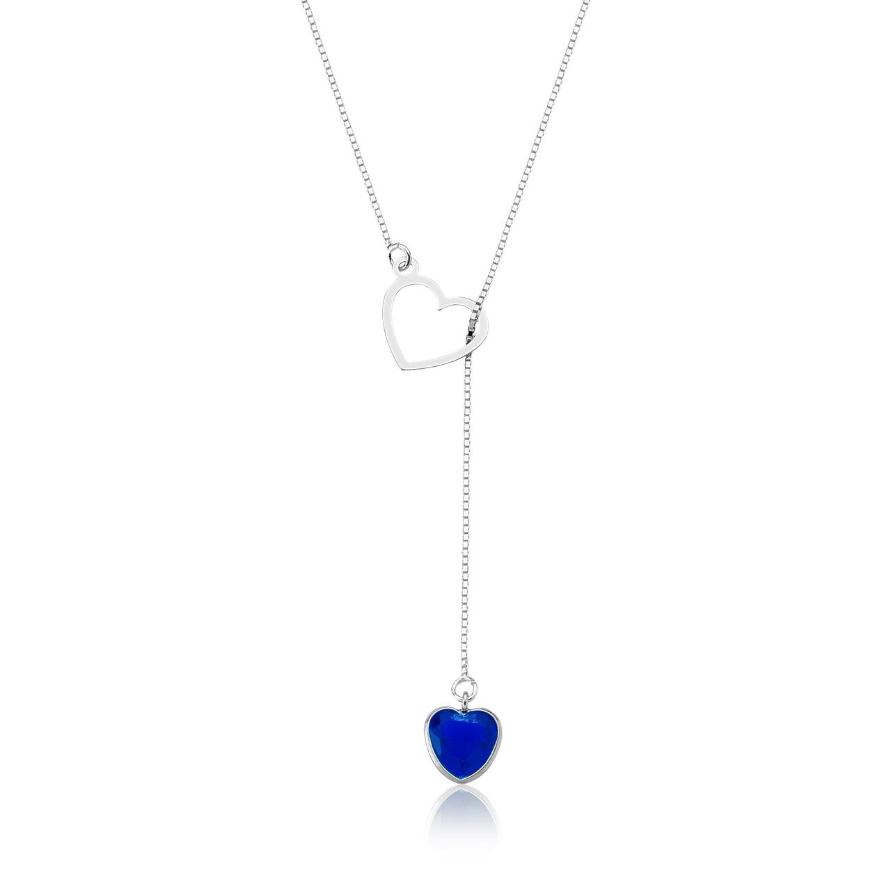 Colar Gravata Coração Azul