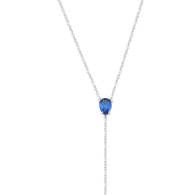 Colar Gravata Gota Zircônia Azul