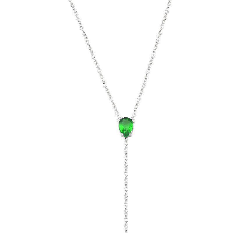 Colar Gravata Gota Zircônia Verde Escuro