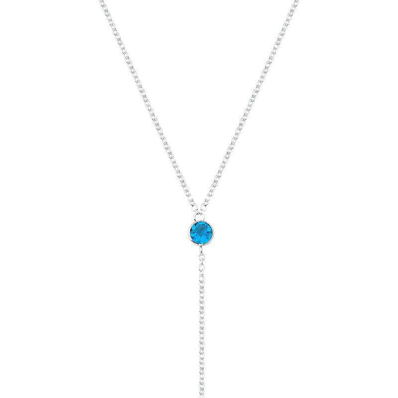 Colar Gravata Pontos de Luz Azul Claro
