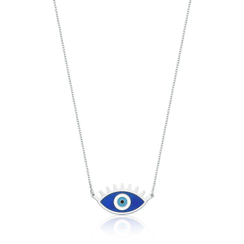 Colar Olho Grego Azul com Cílios