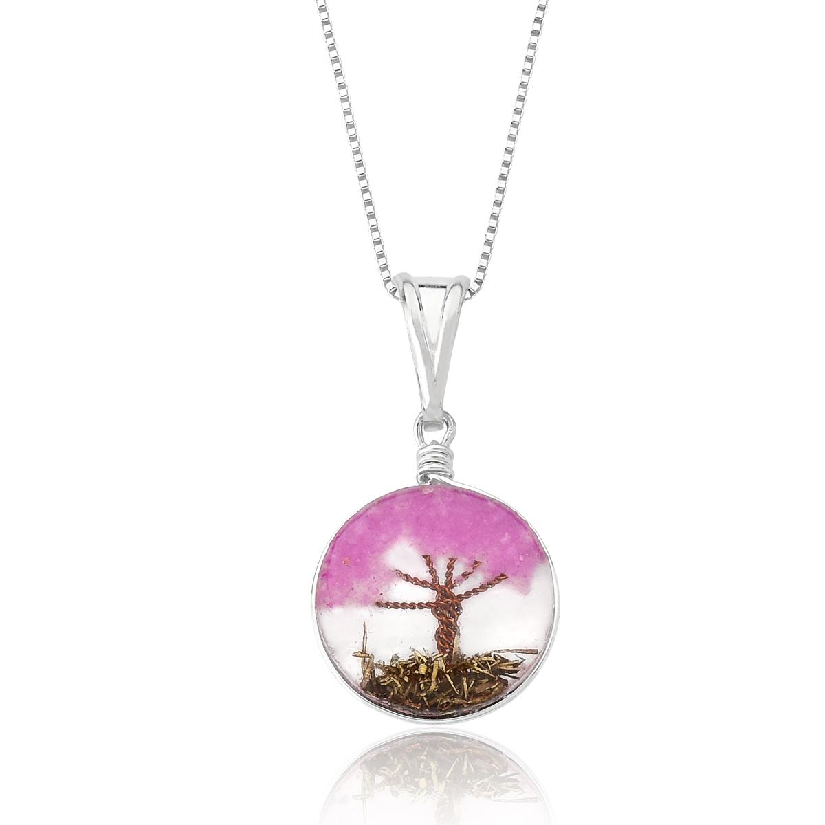 Colar Orgonite Árvore da Vida Rosa Escuro 20 MM - Florescer