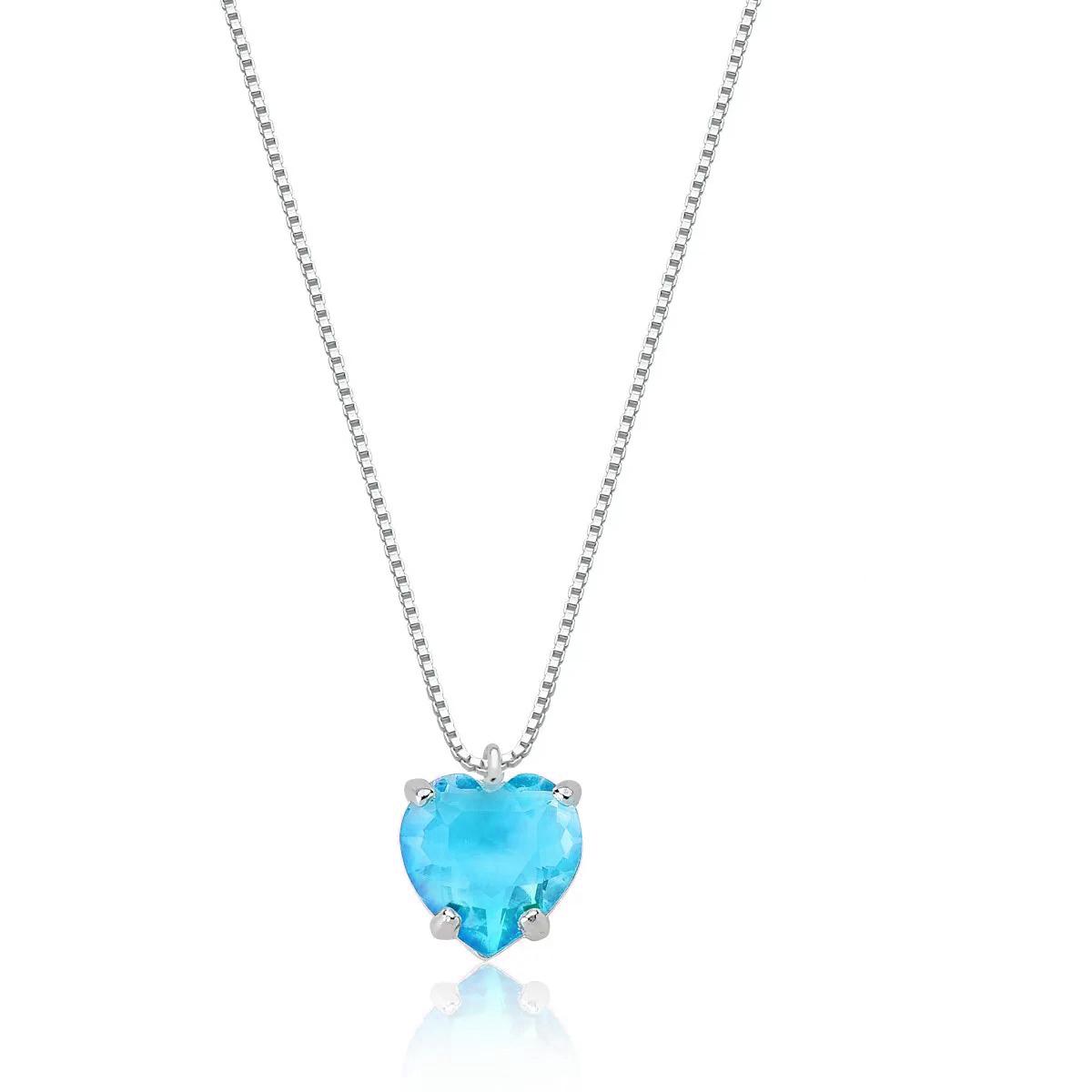 Colar Pedra Coração Azul