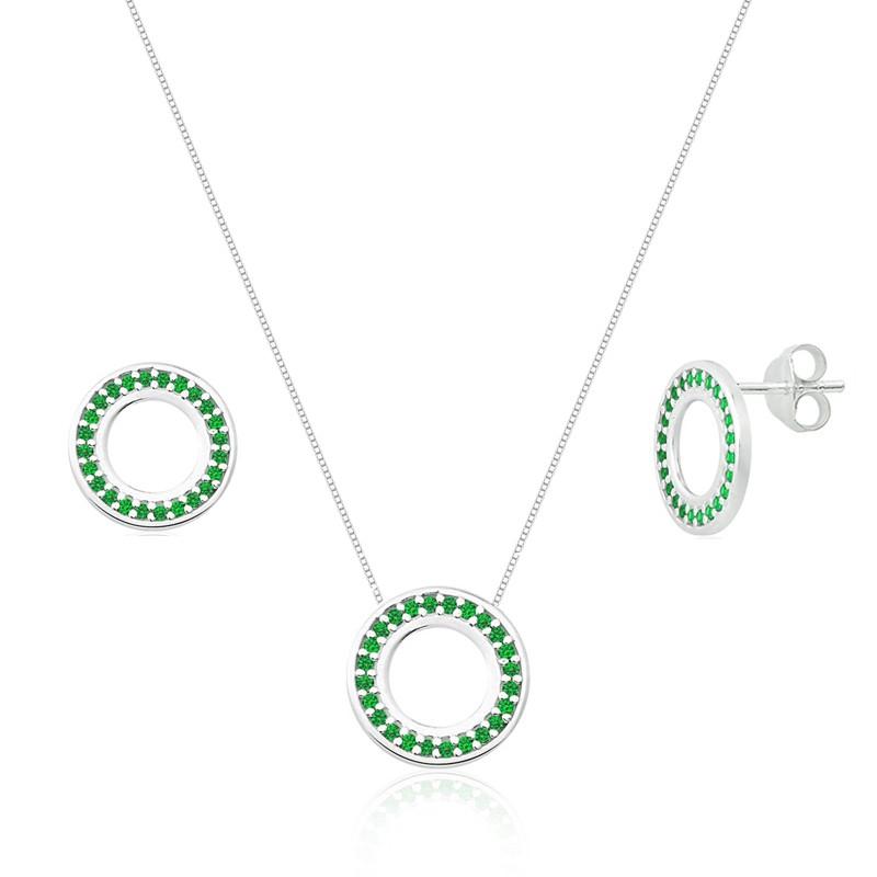Conjunto Círculos Cravejados Verde