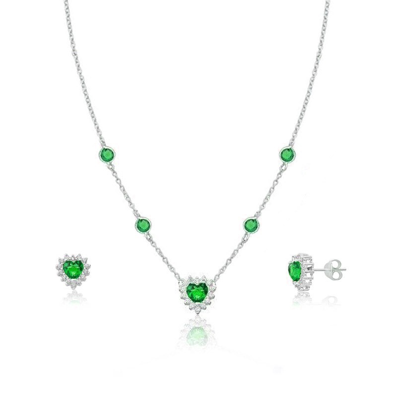 Conjunto Coração Brilhante Verde