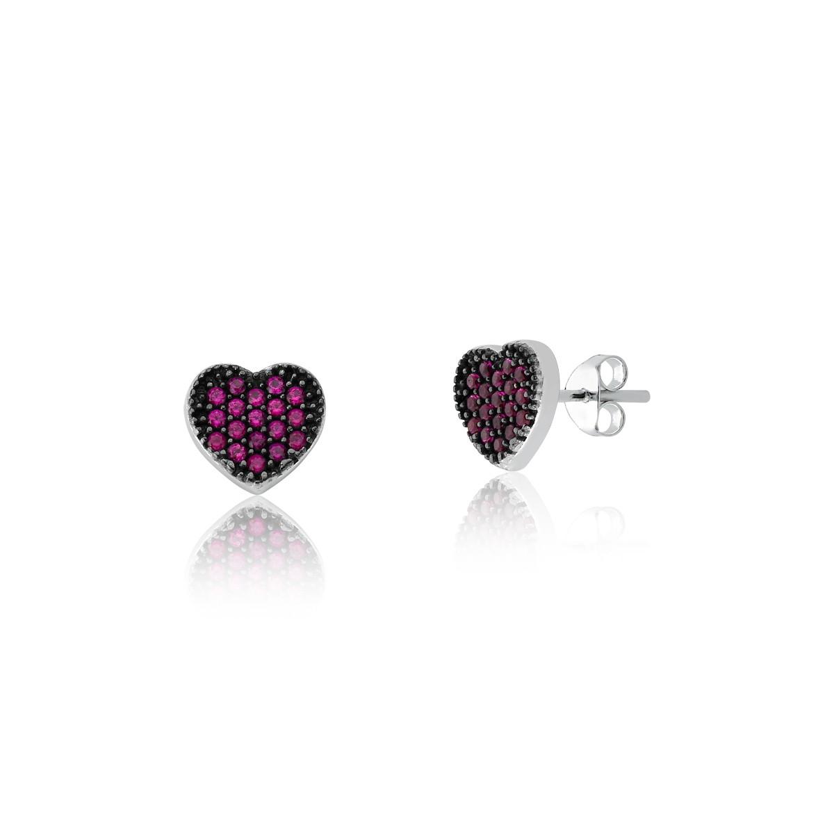 Conjunto Coração Cravejado Rosa Escuro 45 cm