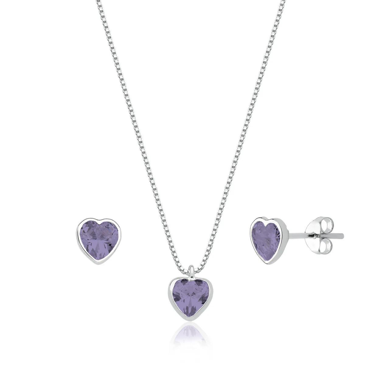 Conjunto Coração Cristal Lilás