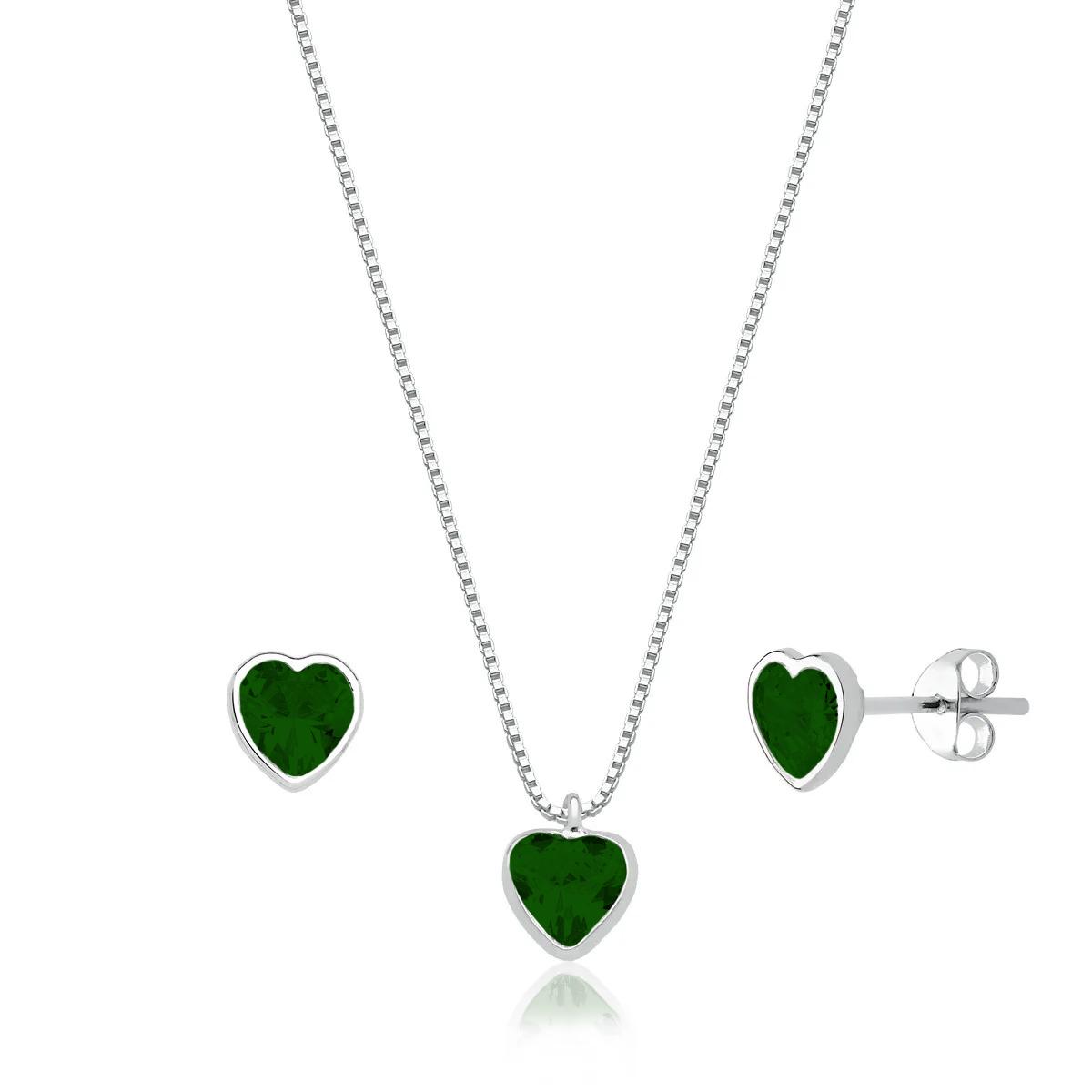 Conjunto Coração Cristal Verde Escuro