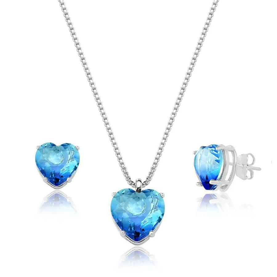 Conjunto Coração Degrade Azul