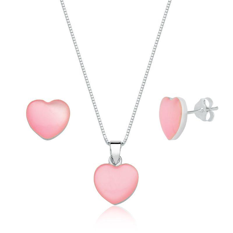 Conjunto Coração Madrepérola Rosa