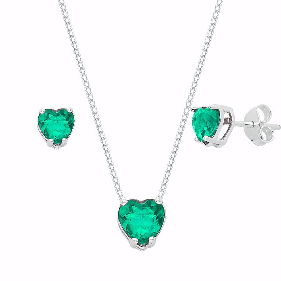 Conjunto Coração Verde Claro