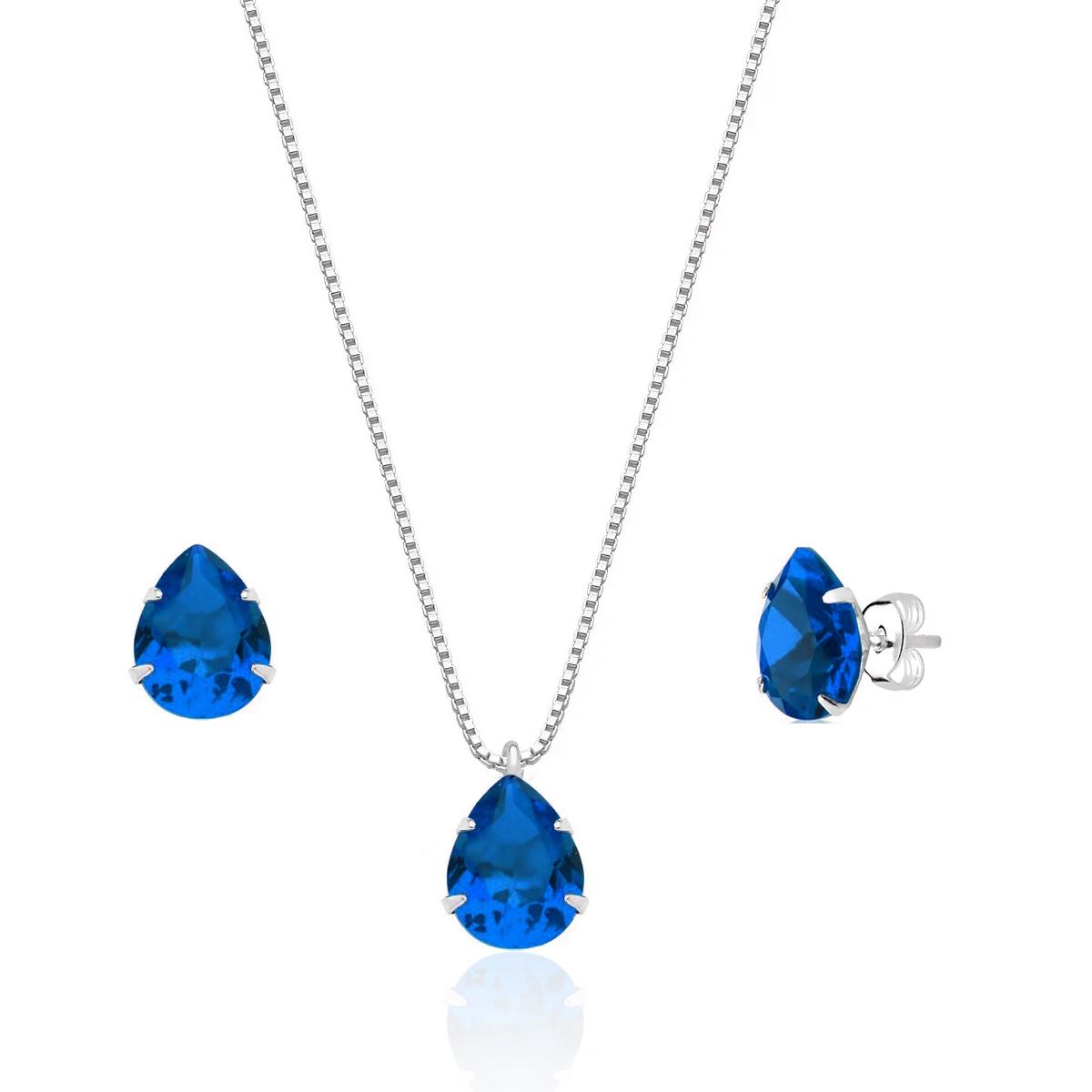 Conjunto Gota Cristalina Azul