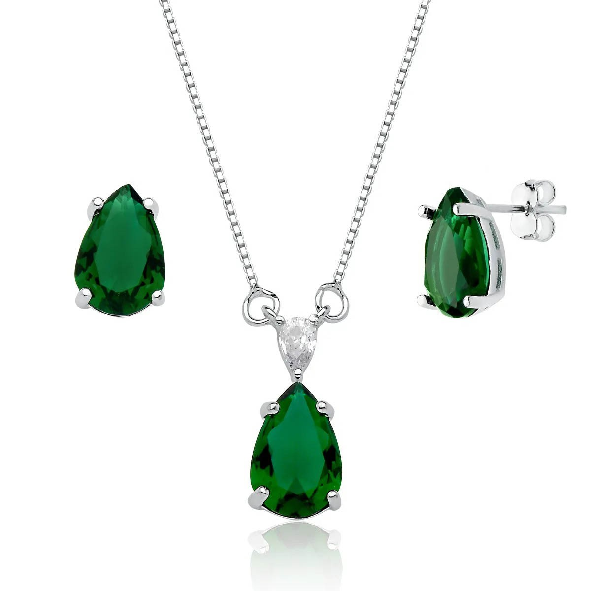 Conjunto Gota Cristalina Verde Esmeralda