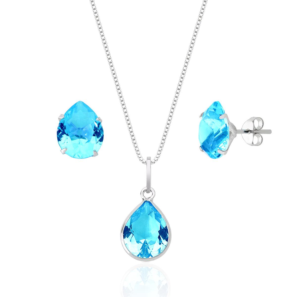 Conjunto Gota de Cristal Azul Claro