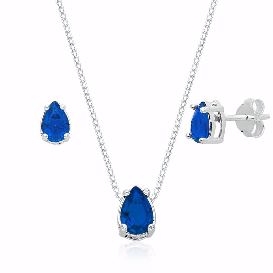 Conjunto Gota Zircônia Azul