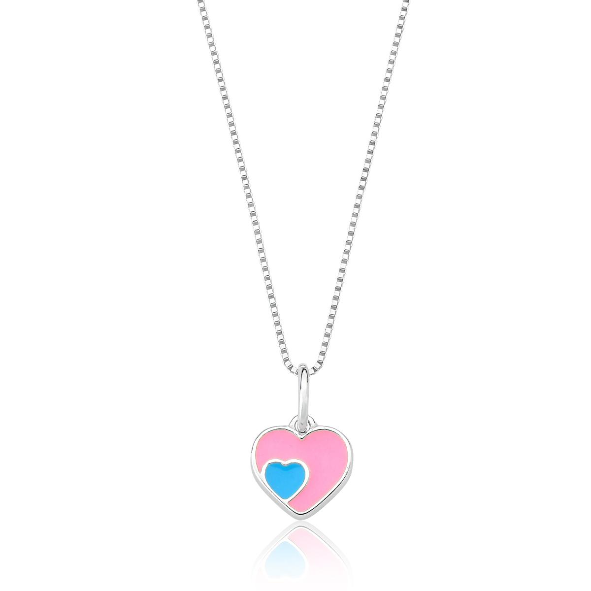 Conjunto Infantil Coração Rosa e Azul